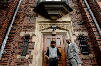 """MaNishtana and Yitz """"Y-Love"""" Jordan outside Chabad World Headquarters, 770 Eastern Parkway, for the New York Times"""